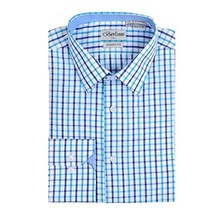 Berlioni Italy Boys Kids Toddlers Checkered Plaid Dress Shirt (Light Blue, 14)