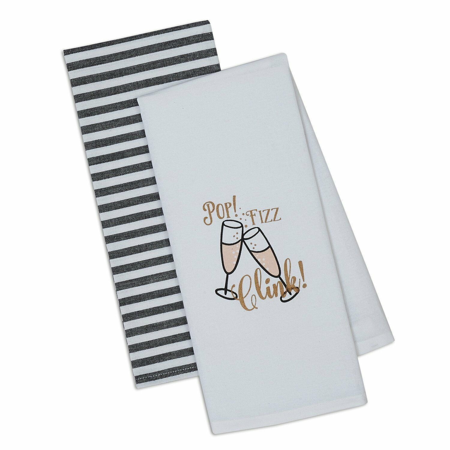 "Primary image for Pop Fizz Clink Dish Towels Set of 2 New Champagne Flutes Stripes Cotton 18""x28"""