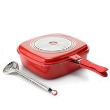 Cook's Companion Cast Aluminum Flip Pan w/ Basting Lid, Tongs & Rack Red - $59.99