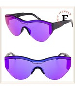 BALENCIAGA SKI 0004 Black Purple Shield Mask Fashion Sunglasses BB0004S ... - $228.69
