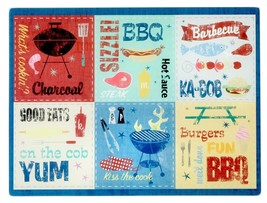 """Glass Cutting Board, EXTRA LONG, RECTANGLE, 12"""" x 15"""" SUMMER TIME BBQ - $15.34 CAD"""