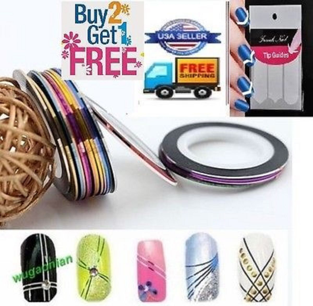 AA3: 2PCS BLACK Rolls Striping Tape Line Nail Tips Sticker DIY w/Free Gift image 2