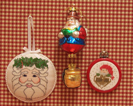 LOT OF 3 CHRISTMAS SANTA CLAUS ORNAMENTS CROSS STITCH - $10.84
