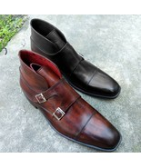 New Handmade Men Double Monk Brown Leather Boots, Dress Formal Boots - $179.97+