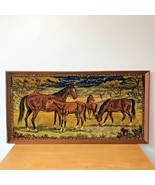 Vintage 1950s? Horses Pasture Field Framed Rug Wall Hanging Art Large 40x21 - $99.95
