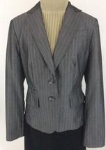 Ann Taylor LOFT Womens Blazer Size 6 Wool Blend Gray Striped Lined Pockets K18 - $19.10