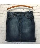 True Blues Vintage Distressed Stretch Denim Skirt Womans 10 Back Slit - $21.24