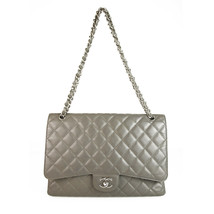 CHANEL Grey Caviar Leather Maxi Classic Single Flap Bag  - £3,585.90 GBP