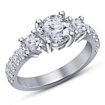 14K White Gold Finish Round Diamond Three Stone Engagement Wedding Ring - $69.98