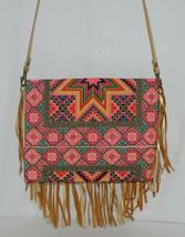 Unbranded Small Geometric Print Purse Gold Colored Fringe image 3