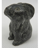 "VTG Black Stone Hand Carved Bunny Rabbit miniature Figurine Sculpture 1""... - $20.00"