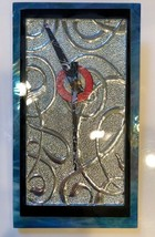 Art nouveau wall clock shines in teal and silver - $105.00