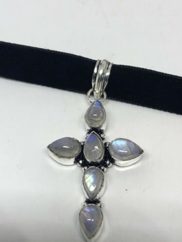 Vintage Genuine Rainbow Moonstone Silver Cross Necklace Choker
