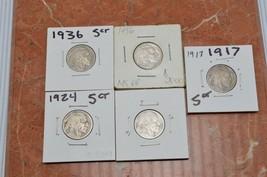 Buffalo Nickel Lot of (5) 1936, 1924, 1917 - $12.80