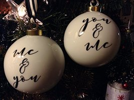 You and Me, Me and You Gold on White Ceramic Monogram Ornament Set of 2