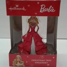 Hallmark Barbie 2015 Christmas Ornament Red Silver Dress Sparkles - $14.00