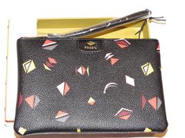 Fossil SL6821016 Gift Print Wristlet Black Multi pouch wallet PVC NWT*^ - $26.72