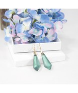 Alexis Bittar Gold Faceted Teal Lucite Large Drop Earrings NWT - $138.11