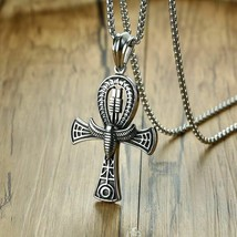 Stainless Steel Scarab Ankh Cross Pendant Necklace Egyptian Religious Je... - $19.77