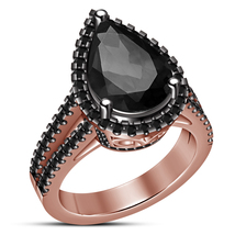 Rose Gold Plated 925 Silver Pear Shape Black Diamond Solitaire W/ Accent... - ₨5,477.92 INR