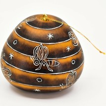 Handcrafted Carved Gourd Art Honeybee Beehive Bees Pollinator Ornament Made Peru image 2