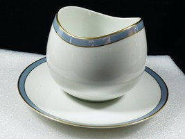 Thomas Germany Helsinki porcelain Blue & Gold rim Gravy Boat with attach... - $59.40