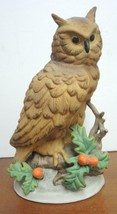 "Large Vintage 9 1/4"" Tall Brown Horned Owl With Holly Berries - $10.69"