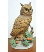 """Large Vintage 9 1/4"""" Tall Brown Horned Owl With Holly Berries - $10.69"""