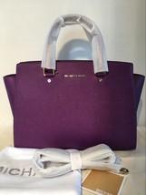 Michael Kors Women's Selma Large Top Zip Satchel Satchel Handbag Purple - $230.00