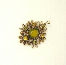 Vintage Green Rhinestones Floral Pendant Signed Made In Austria - $9.85