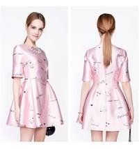 2016 Summer Cartoon Print Pink Ball Gown Dress Womens Formal Gown Party Wear - $30.50