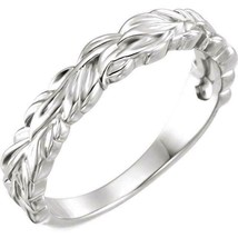 Stapelbar Blätter Design Sterlingsilber Ring - $43.64