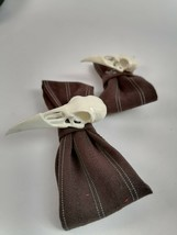 2 Hair Bows steampunk brown material bow with a white 3d printed crow sk... - $22.14