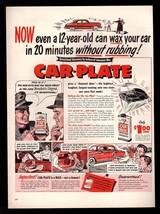 1950 Johnson's Car Plate Auto Wax Vintage Original Print Ad - $7.59