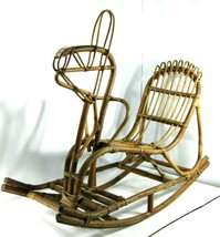 Vintage MCM Bamboo Rattan Wicker Rocking Horse *FOR DISPLAY/DECOR USE ONLY - $99.99