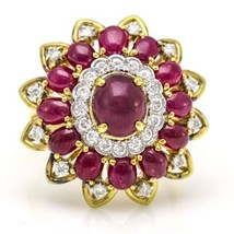 Ruby and Diamond 1960s Cocktail Ring in 18k Yellow Gold - $2,470.05