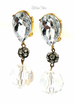 Les Bernard Vintage Lucite and Rhinestone Drop Earrings Designer Retro D... - $64.00