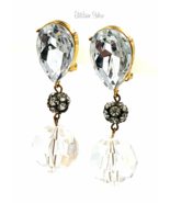 Les Bernard Vintage Lucite and Rhinestone Drop Earrings Designer Retro D... - $64.00