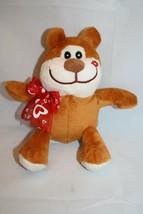 "Greenbrier Valentines Teddy Bear 6"" Hearts Bow Lips Kiss Plush Stuffed S... - $13.52"