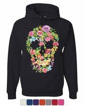 Flower Skull Hoodie Sugar Skull Calavera Dia de los Muertos Sweatshirt - $28.32+