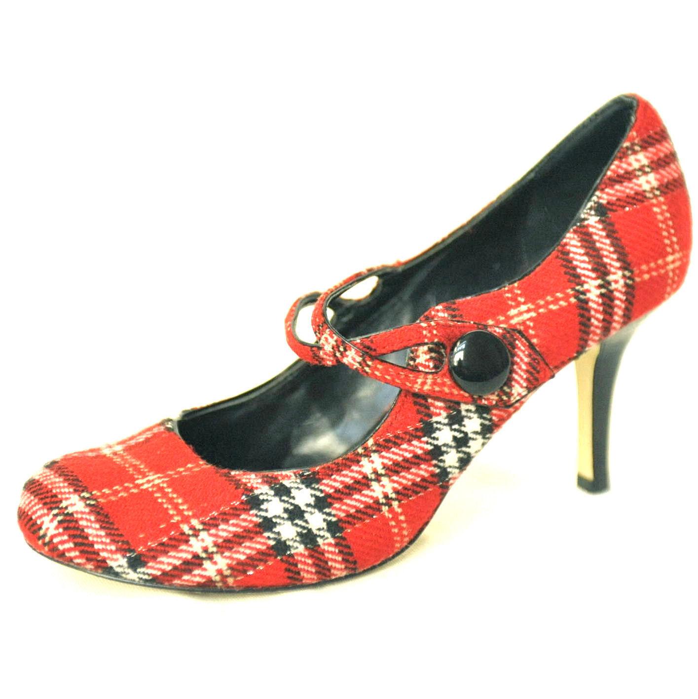 428b9936b3a Womens Steve Madden P-LANIE Red Nova Check Plaid Mary Jane High Heels Shoes  7.5M -  19.99