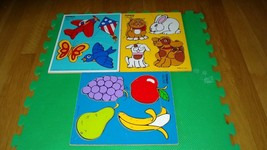 Vintage Playskool Wooden Puzzle My Pets, Fruits, Things that Fly  4 Pieces  - $32.67