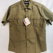 New Blauer 8713X Short Sleeve Shirt Silver Tan Size Large Regular (16-16... - $19.79