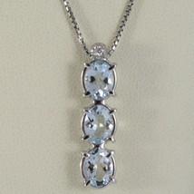 Halskette Weißgold 750 - 18K, Trilogie Aquamarin Oval Karat 2.50 und Diamant image 1