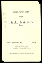 Hiroko Nakamura Japanese Pianist Signed Concert Program Autographed 1963... - $69.25