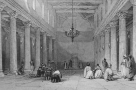 ISRAEL Bethlehem Church of Nativity Chapel Interior - 1839 Engraving Print - $16.20