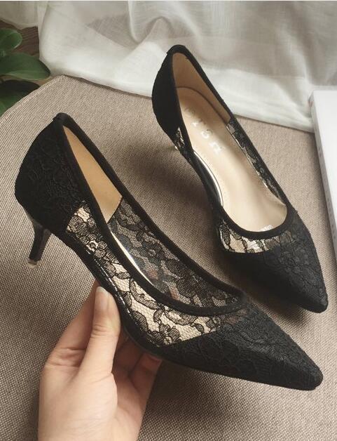 Low Heels Grey Lace Wedding Shoes,Gray Women Bridal Heels,Grey Evening Shoes image 4