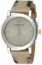 NWT *AUTHENTIC* Burberry BU9021 Women's Large Check Tan Leather Strap Watch - $229.95