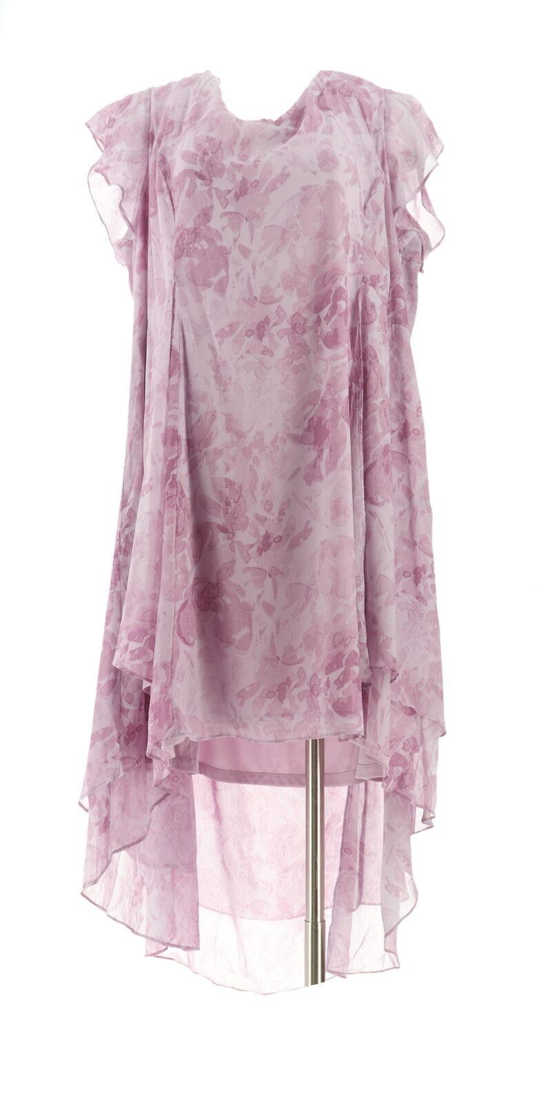 H Halston Petite Rose Print Cap Slv Hi-Low Dress French Lilac 24P NEW A303199