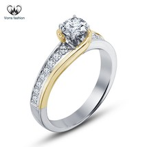Promise Engagement Wedding Ring Round Cut Diamond White Gold Plated 925 Silver - $69.99